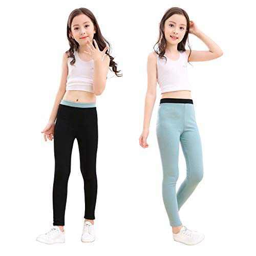 slaixiu Cotton Ankle Length Girls Leggings Stretchy Kids Pants 3-12y(GP04_Black&Green_110)