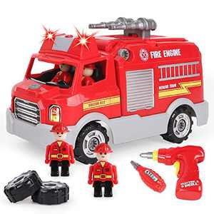 REMOKING Take Apart Toy, STEM Car Toy for Boys & Girls, Build Your Own Car Toy Fire Truck ,Educational Playset with Tools and Power Drill, DIY Assembly Car with Realistic Sounds & Lights (3+ Ages)