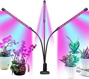 Grow Light Plant Lights for Indoor Plants, Clip-On Full Spectrum Led Plant Grow Lights, Auto ON & Off with 3/9/12H Timer, 9 Dimmable Lightness (with AC Adapter).