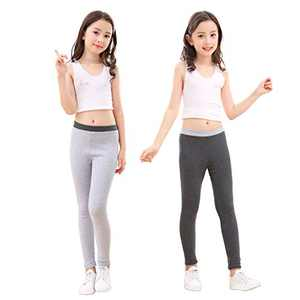 slaixiu Cotton Ankle Length Girls Leggings Stretchy Kids Pants 3-12y(GP04_Darkgray&Gray_110)