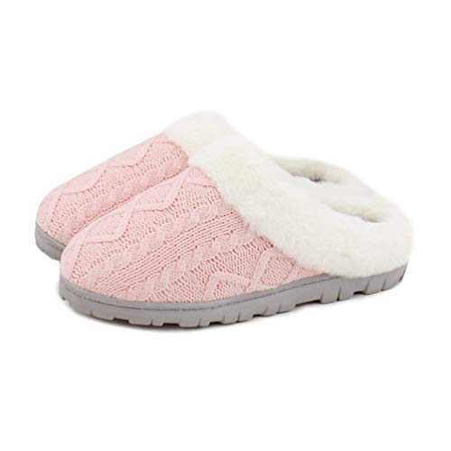 Homlady Women Cozy Knit Indoor Outdoor Fleece Slippers Slip-on House Clog Shoes(5-6,Pink)