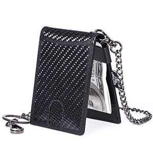 ManChDa Carbon Fiber Slim Money Clip RFID Blocking Leather Card Case (1.Black)