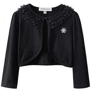 Big Girls Cropped Cardigan Sweater 7-16 Lace Bolero Shrugs 10 11 Black Pearl