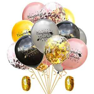 AMAWILL Graduation Black Gold Confetti Balloons,52 Pack 12 Inch Graduation Theme Latex Balloons For Graduation Party Decorations