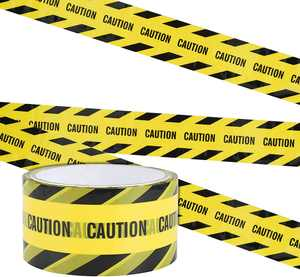 Irich Crime Scene Tape, 25M*4.8CM Hazard Warning Tape Roll Adhesive Marking with Bold Black Twill CAUTION, Construction Barrier Tape for Children Halloween Decorations Parcel Tape