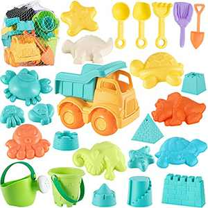 Beach Sand Toys for Kids Toys - 26Pcs Sand Toys with Mesh Bag Includes Sand Truck, Bucket, Watering Can, Shovels, Animal Castle Sand Molds, Sandbox Toys Summer Outdoor Beach Toys for Toddlers Gift