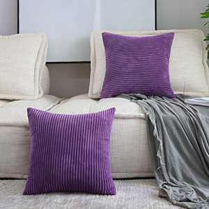 Home Brilliant 2 Packs Decoration Cute Pillows Nursing Pillow Cover Pillow Cases Decorative, 22x22 inches, 55x55 cm, Eggplant