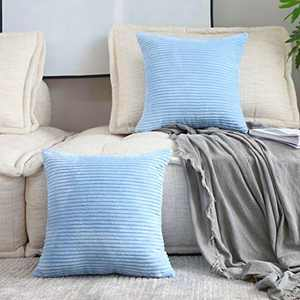 Home Brilliant Set of 2 Throw Pillow Covers Striped Velvet Couch Pillow Cushion Covers Large Couch Pillows, 22x22 inch, 55 x 55cm, Baby Boy Blue