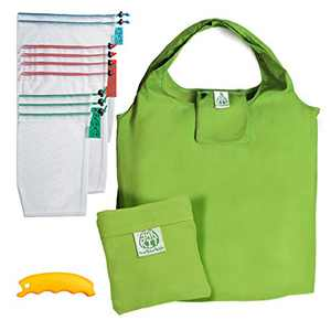 Reusable Mesh Bags Set of 12 pcs - Mesh Bags for Grocery w/ Weight Tags - Foldable Vegetable Bags W/ Carrier Handle - Produce Reusable Shopping Bags Grocery - Zero Waste Kit - Recycled Products Gift