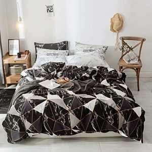 Wellboo Black Marble Duvet Covers White Silver Grey Triangle Bedding Covers Marble Queen Cotton Geometric Blocks Covers Men Women Adults Gold Texture Lines Quilt Full Soft Health Luxury Warm Durable