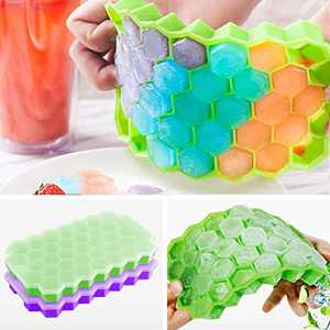 2 Pack Silicone Ice Cube Trays with Lids, Ice Mold Make 74 Cubes Totally Easy Release Flexible Spill-Resistant Stackable Durable BPA Free and Dishwasher Safe (Green & Purple)