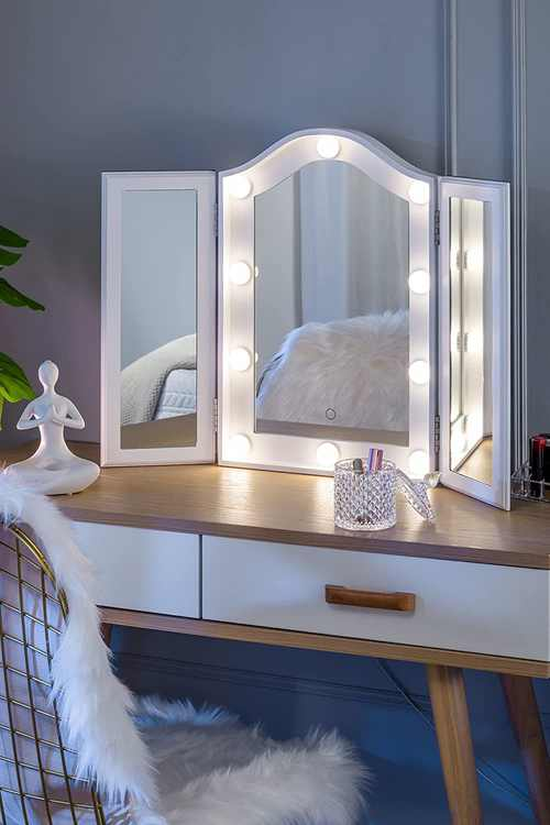LUXFURNI Hollywood Tabletop Makeup Tri-Fold Mirror with USB-powered Dimmable Light Touch Control