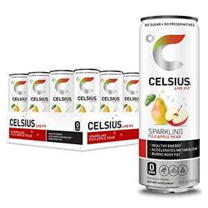 CELSIUS Fitness Energy Drink 12 Fl Oz, Sparkling Fuji Apple Pear (Pack of 12)