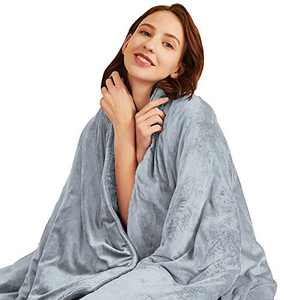 Hiseeme Minky Weighted Blanket 15 lbs for Adult (48''x72'', Twin Size) Plush Luxury Fabric with Glass Beads - Grey