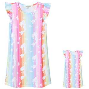 Perfashion Rainbow Mermaid Nightgowns Matching Girls&Dolls Summer Flutter Sleeve Pajama Dress