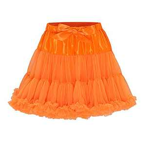 Metme Petticoat Puffy Tutu Tulle Skirts Elastic Waist Fluffy Ballet Dance Pettiskirt for Women Orange