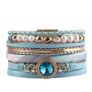 GelConnie Heart Leather Bracelet Endless Love Charm Crystal Wrap Bracelets Baroque Pearl Cuff Bracelet Bohemian Gifts for Women, Lovers, Wife LPB308-Blue