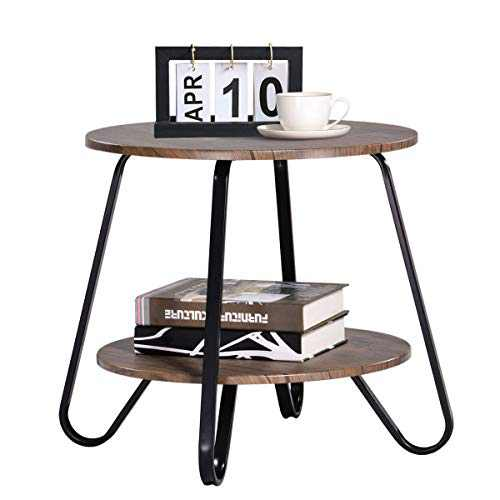 Round End Table Round Side Table Nightstand Small End Tables Industrial Side Table for Living Room Bedroom Nightstands Modren Side Table 18.1x18.1x17.7 inches, Brown