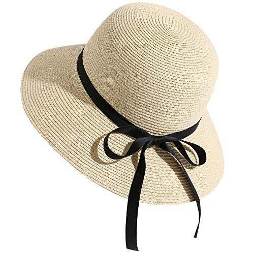 Lanzom Women Wide Brim Straw Foldable Roll up Cap Fedora Beach Sun Hat UPF50+ (Style D-Beige)