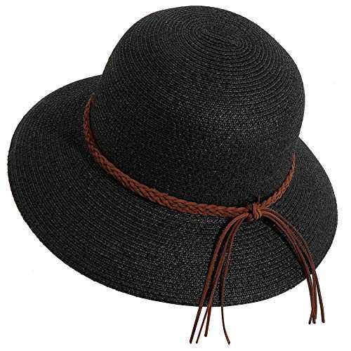 Lanzom Women Wide Brim Straw Foldable Roll up Cap Fedora Beach Sun Hat UPF50+ (Style E-Black)