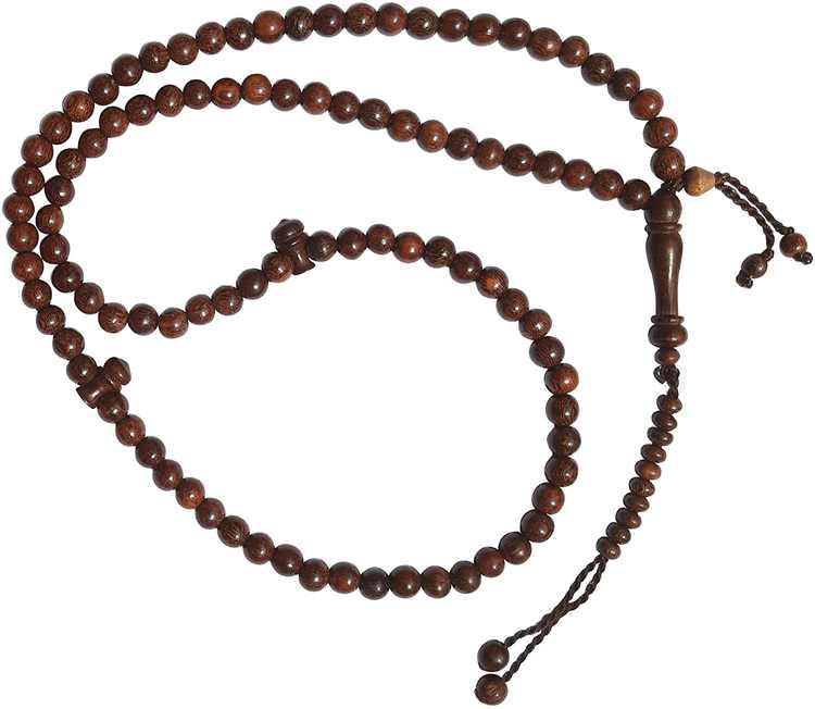 6mm-Bead Dense Tamarind Wood Muslim Rosary Tasbih with 99-beads & Counters
