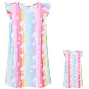 Perfashion Rainbow Mermaid Nightgowns Matching Girls&Dolls Summer Flutter Sleeve Pajama Dress