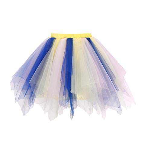 Metme Women's Teen's 1950s Vintage Tutu Tulle Petticoat Ballet Bubble Skirt Purple - Blue