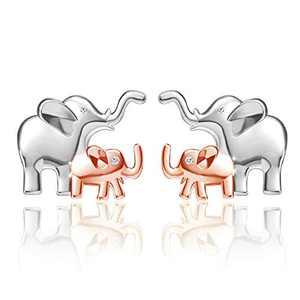 Freeco Elephant Stud Earrings 925 Sterling Silver Earrings Lucky Cute Ear Studs for Women Girls (Elephant Earrings)