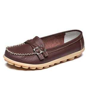 FJWYSANGU Women Leather Loafer Comfort Walking Flat Casual Slip on Shoes Brown 8.5M