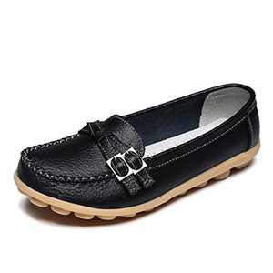 FJWYSANGU Women Leather Loafer Comfort Walking Flat Casual Slip on Shoes Black 9.5M
