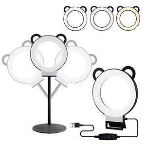 Ring Light, 6inch Led Ring Light Kit Adjustable Desktop Lamp USB Plug with Stand,Lusweimi Mini Tabletop Light for Live Stream/Makeup/YouTube Video, 3 Light Modes & 11 Level (Black)