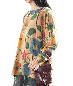 YESNO S01 Girls Casual Loose Sweaters Knitted Pullover Tops Floral Printed Long Sleeve XL S01 CR08