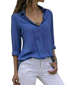 Yidarton Women's Long Sleeve V Neck Chiffon Blouses Tops Button Down Business Shirts(Blue,L)