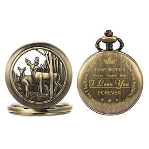 SIBOSUN Pocket Watch Personalized Engraved Back Case Graduation Men to Brother Deer Reindeer Quartz