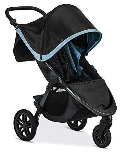 Britax B-Free Stroller, Frost - All Terrain Tires - Adjustable Handlebar - One Hand Fold - Large UV50 Canopy