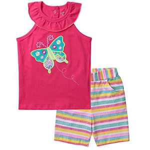 Meeyou Little Girls' Lovely Tank top & Essential Shorts Set (4T, Pink Butterfly)