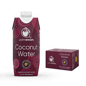 Palmdream Coconut Water | Premium Coconut Water - Flavored with Natural Passion Fruit Juice | Non-GMO, Never from Concentrate, Gluten Free | Single Origin Coconuts | Natural Electrolytes to Boost Hydration (Passion Fruit Flavor - 330ml) - 12 units