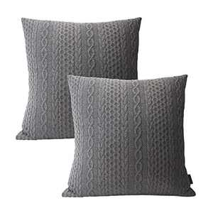 Booque Valley Throw Pillow Covers, Pack of 2 Super Soft Elegant Modern Embossed Patterned Gray Cushion Covers Throw Pillow Cases for Sofa Bed Car Chair, 18 x 18 inch(Grey)