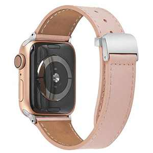 hooroor Leather Bands Compatible Apple Watch Band 38mm 40mm 42mm 44mm Replacement Strap for iWatch Series 6, SE, Series 5, Series 4,Series 3,Series 2,Series 1,Sport, Edition Womens Mens(Pink,42/44mm)