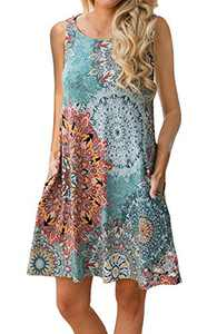 Women's Summer Casual Sleeveless Long Tunic Tops Crew Neck Floral Printed Loose T-Shirt Dresses with Pockets Peacock Blue