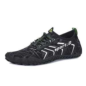 UBFEN Mens Womens Water Shoes Aqua Shoes Swim Shoes Beach Sports Quick Dry Barefoot for Boating Fishing Diving Surfing with Drainage Driving Yoga Size 6 Women / 5 Men Black/White