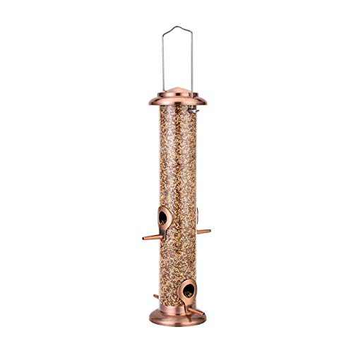 iBorn Bird Feeder for Outside Wild Bird Feeder for Mix Seed Blends All Metal Copper Anti-UV Finishing 14 Inch (Seed is not Included)