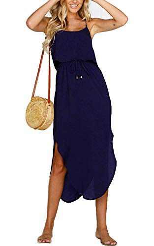 Yidarton Women's Dress Summer Casual Floral Adjustable Strappy Split Midi Beach Dress (C-Navy Pure Dress, X-Large)