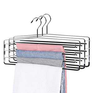 Pants Hangers Organizer for Closet Non-Slip Space Saving Saver Stainless Steel Men Women Jeans Slack ( 3 Pack )