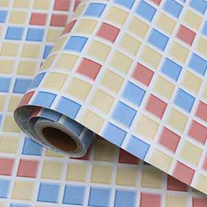 """Mosaic Wallpaper Self-Adhesive Removable Thick Peel and Stick Wallpaper 3D Effect Matte Cleanable Bathroom Kitchen Shelf Paper Countertop Mosaic Wallpaper Light Brown Wallpaper 15.7"""" x 78.7"""""""