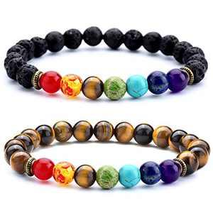 Doitory Men Women 8mm Lava Rock 7 Chakra Essential Oil Charms Bracelet Gifts for Friends Elastic Natural Stone Yoga Beads Bracelet Bangle-21001