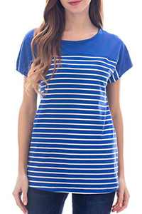 Smallshow Women's Tops Short Sleeve Striped Patchwork O-Neck Casual T Shirt Medium Blue