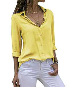 Yidarton Women's Long Sleeve V Neck Chiffon Blouses Tops Button Down Business Shirts(Yellow,XL)