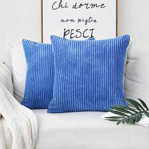 Home Brilliant 2 Packs Pillows Decorative Throw Pillows Cover for Couch Bench Striped Velvet Floor Pillow Covers, 22 x 22 inch, 55x55cm, Blue