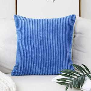 Home Brilliant Solid Throw Pillows Decorative Accent Pillow Case Striped Corduroy Soft Plush Velvet Cushion Cover Sofa, 18x18 inch (45cm), Blue